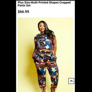Pants - Plus size multi-printed shapes cropped pants